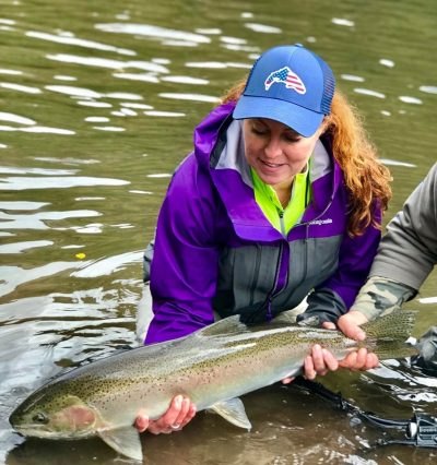 Kaia with a nice Klickitat steelhead